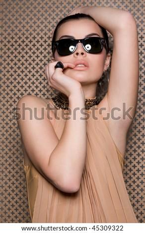 Warm female portrait - stock photo