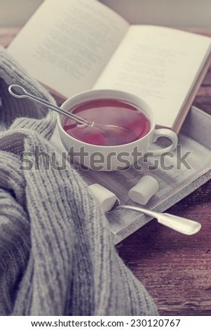 Warm knitted sweater,cup of hot tea and  book on a wooden tray - stock photo