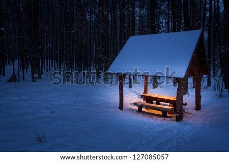 Warm shelter in a cold winter - stock photo