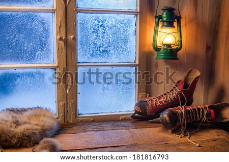 Warm shelter in winter frosty day - stock photo