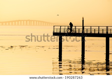 warm sunrise in lisbon - stock photo