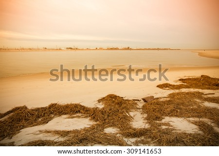 Warm sunrise on the coast. Overlooking the Silver Point County Park. East rockaway Intel. US East Coast. Tinted - stock photo
