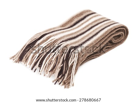 warm woolen scarf, isolated on white background - stock photo
