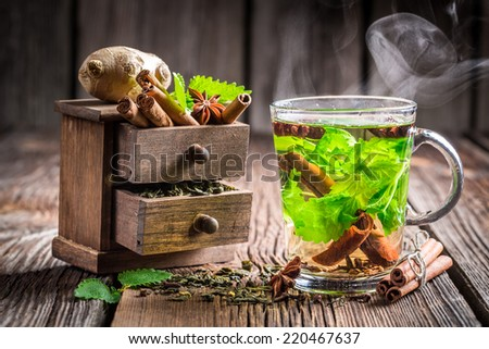 Warming leaf tea - stock photo