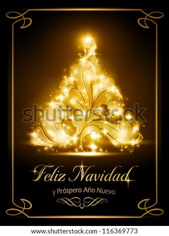 "Warmly sparkling Christmas tree light effects on dark brown background with the text ""Feliz Navidad y Próspero Año Nuevo"", Spanish for ""Merry Christmas and a Happy New Year"". - stock photo"