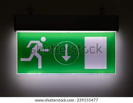 Warning and escape route table. - stock photo