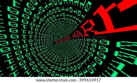 Warning data tunnel - stock photo