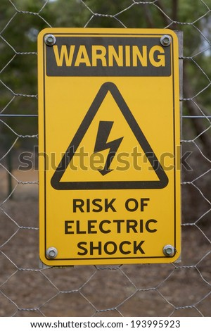 Warning: Electric Shock Sign - stock photo