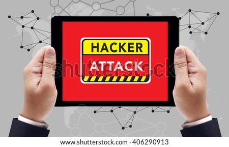 Warning Hacker Attack Browsing Concept on the tablet pc screen by businessman hands, top view - stock photo