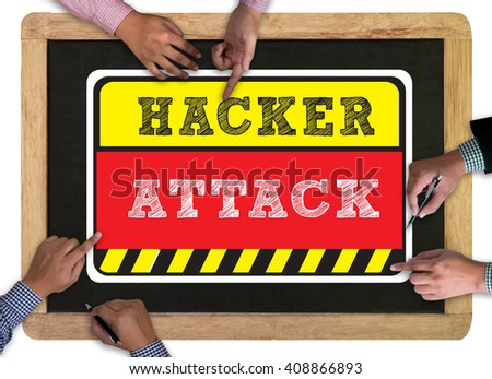 Warning Hacker Attack Browsing Concept vintage blackboard with wooden frame on white background. - stock photo