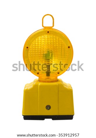 warning light in yellow,Construction site is protected by fence with flashing beacon lights for safety.isolate,on white background. - stock photo