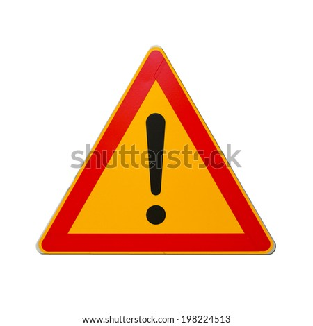 Warning road sign with exclamation mark isolated on white - stock photo