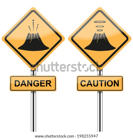 Warning road signs about the dangers of the volcano. Bitmap copy. - stock photo