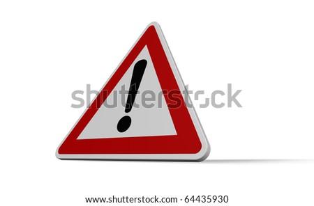 warning roadsign on white background - 3d illustration - stock photo