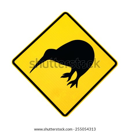 Warning Sign for the Kiwi bird, isolated with clipping path on white background  - stock photo