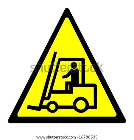 Warning sign - forklift truck - stock photo