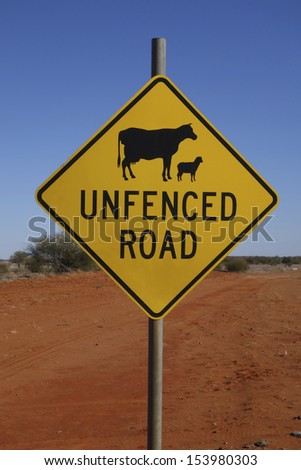 Warning sign in outback Australia - stock photo