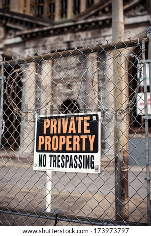 Warning sign in the downtown of Detroit, Michigan - stock photo