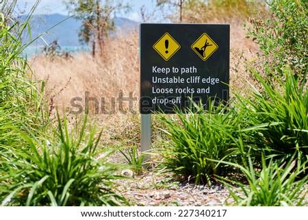 Warning sign keep to path - stock photo