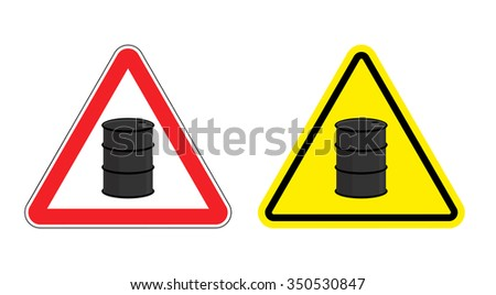 Warning sign of attention barrel of oil. Yellow danger radioactive wastes. Silhouette metallic barrels on red triangle. Set  Road signs.  - stock photo