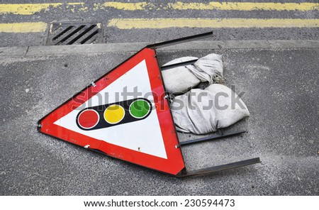 Warning sign on the road in England - stock photo
