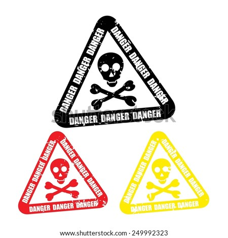 Warning sign, skull danger color sign (deadly danger sign, warning sign, danger zone)  - stock photo