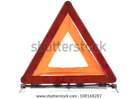 Warning sign triangle on a white background - stock photo