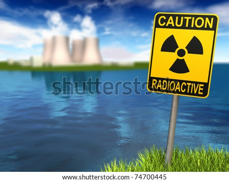 Warning sign with radioactive symbol and nuclear power plant on the coast, 3d render - stock photo