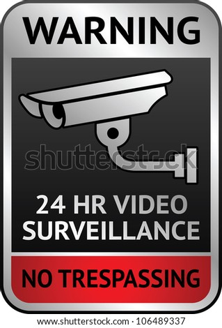 Warning Sticker for Security Alarm CCTV Camera Surveillance - stock photo