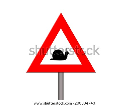 Warning symbol of low speed - stock photo