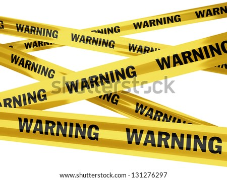 warning tape strips (isolated on white and clipping path) - stock photo