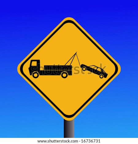 warning tow away zone sign on blue illustration JPG - stock photo