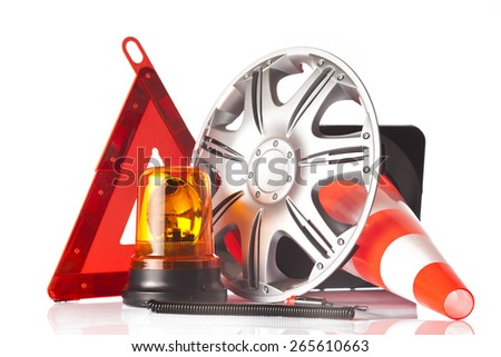 warning triangle and car accessories - stock photo
