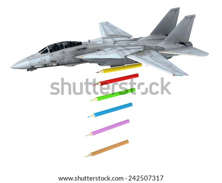 warplane launching pencils instead of bombs, make love not war concepts - stock photo