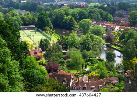 WARRICK CASTLE, WARRICK, UK - JUNE 5,2016: View of Warrick from the Castle. Warwick Castle is a medieval castle developed from an original built by William the Conqueror in 1068. - stock photo