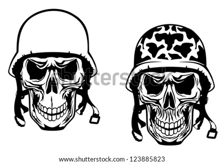 Warrior and pilot skulls in military helmets, such as idea of logo. Vector version also available in gallery - stock photo
