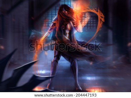 Warrior armored woman. Fantasy warrior woman attack with fire chains action illustration. - stock photo
