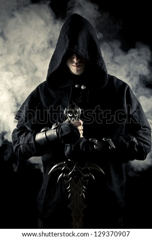 warrior in abstract smoke - stock photo