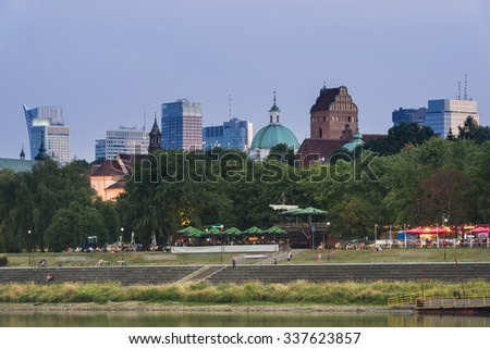 Warsaw city center during dusk time - stock photo