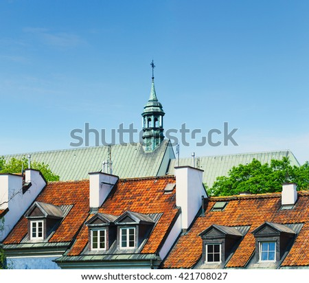 Warsaw city, Poland - downtown - stock photo