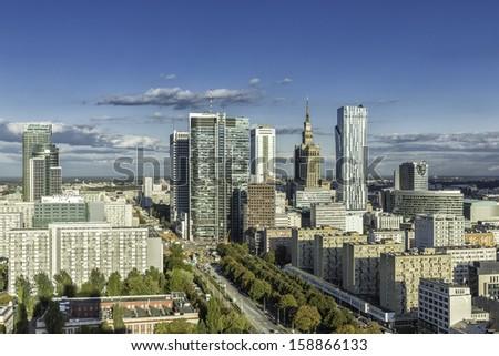 Warsaw downtown aerial view, Poland - stock photo