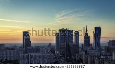 Warsaw financial district during sunrise, Poland - stock photo