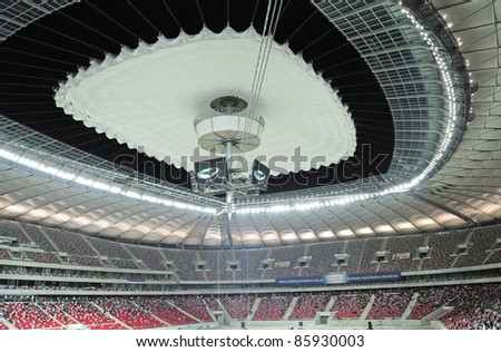 WARSAW - OCTOBER 02: Premiere presentation of the opening and closing the stadium roof, during The Grand Open Day at the National Stadium on October 02, 2011 in Warsaw, Poland. - stock photo