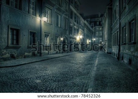 Warsaw, old town by night - stock photo