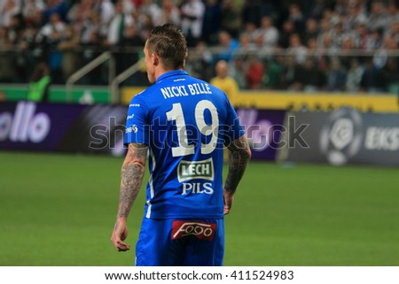 WARSAW, POLAND - APRIL 15, 2016: Nicki Bille Nielsen (Lech Poznan) in action during polish league football match between Legia Warszawa and Lech Poznan in Warsaw.  - stock photo
