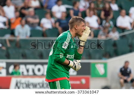 WARSAW, POLAND - AUGUST 09, 2015: Radoslaw Cierzniak (Wisla Cracow goalkeeper) during Polish League football match between Legia Warsaw and Wisla Cracow in Warsaw. Final results: 1:1 - stock photo
