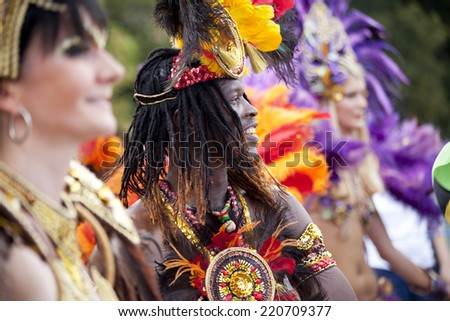 WARSAW, POLAND, August 31: Unidentified Carnival musician on the parade on Warsaw Multicultural Street Party on August 31, 2014 in Warsaw, Poland. - stock photo