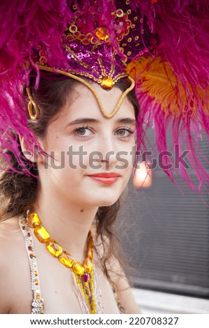 WARSAW, POLAND, August 31: Unidentified Carnival musician on the stage on Warsaw Multicultural Street Party on August 31, 2014 in Warsaw, Poland. - stock photo