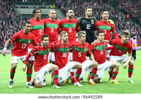 WARSAW, POLAND - FEBRUARY 29: Portugal national football team players before friendly game against Poland on February 29, 2012 in Warsaw, Poland. Final results, Poland-Portugal 0:0 - stock photo