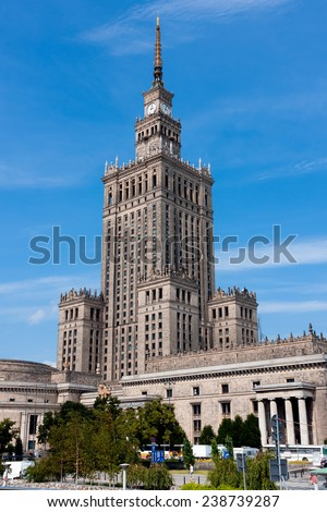 WARSAW, POLAND - JUNE 28, 2014:  Palace of Culture and Science, skyscraper in socrealist realism style, built in 1952-1955 - stock photo